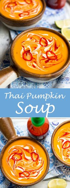 A Food & Drink Healthy Snacks Nutrition Cocktail Recipes Thai Pumpkin Soup! A spicy comforting SOUP - perfect for those cold evenings. Thai Pumpkin Soup, Thai Soup, Pumpkin Coconut Soup, Spicy Soup, Krups Prep Cook, Asian Recipes, Healthy Recipes, Thai Food Recipes, Healthy Soup
