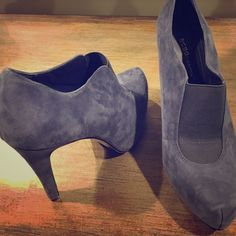 "BCBGeneration suede Priyah bootie size 8 Suede upper, synthetic lining and sole. Size 8. Grayish/blue. 4.5"" heel with 1"" platform BCBGeneration Shoes Ankle Boots & Booties"
