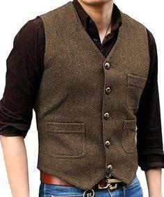 686c545d3a4 New Men s Suit Vest V Neck Wool Herringbone Tweed Casual Waistcoat Formal  Business Vest Groomman For Green Black Brown Coffee+++