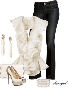"""Jeans Go Elegant"" by sherryvl on Polyvore"