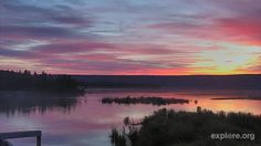 Sunrise on Brooks River. 6:35 AKT, 20 August 2015.  LR #bearcam view (http://explore.org/live-cams/player/brown-bear-salmon-cam-lower-river)