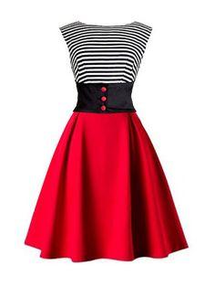 Color Block Patchwork Chic V Neck Skater-dress 2a15d6fe17