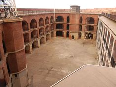 """Constructed during the height of the California Gold Rush, Fort Point's master masonry has been called """"the pride of the Pacific."""" Overlooking the majestic Golden Gate, Fort Point protected the San Francisco harbor from attack during and after the Civil War."""
