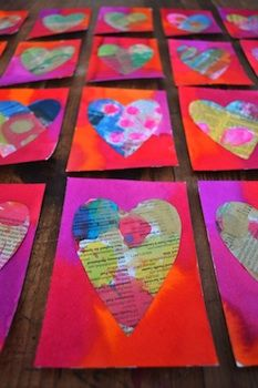 You Are My Fave painted newspaper hearts
