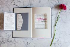 Custom book invitation  Photography By / http://lizandryan.com,Stationery, Paper Flowers, Lanterns By / http://allisonbarnhilldesigns.com