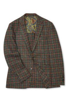 This richly coloured houndstooth jacket is a contemporary take on a classic tweed sports coat, cut in an unstructured style from pure wool tweed fabric woven in Italy. It's left unlined for comfort and trimmed with relaxed patch pockets for an easy look. Tweed Sport Coat, Houndstooth Jacket, Tweed Fabric, Woven Fabric, Single Breasted, Pure Products, Blazer, Wool, Jackets