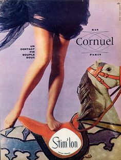 Cornuel (Stockings Hosiery) 1961 Carousel, Merry-go-round Nylons, Pantyhose Outfits, Pantyhose Heels, Vintage Stockings, Silk Stockings, Stockings Lingerie, Lingerie Vintage, Vintage Advertisements, Vintage Ads
