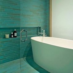 Our Modern Blue tile, with shifts from green to blue 💆♀️ Design: Tina Manis Associates. More Heath tile: Heath Ceramics Tile, Heath Tile, Green To Blue, Modern Baths, Blue Tiles, Create Space, Blue Design, Small Bathroom, Bathrooms