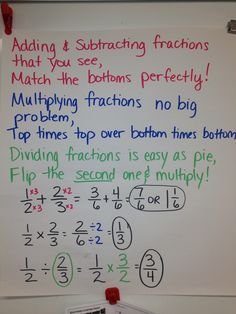 Fractions anchor chart.  Verse, poem, song to help kids with adding, subtracting, multiplying & dividing fractions.  Homework help. DIY tools to help kids comprehension.