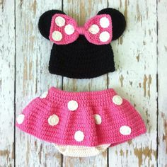 Pink Minnie Mouse Crochet photo prop outfit 018 by GBabyCrochet, $45.00
