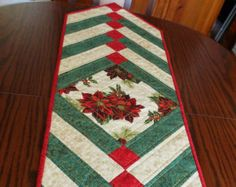 Christmas patchwork tablerunner. French Braid traditional green red and cream, holly, poinsettias. Xmas handmade quilted table runner