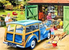 Shop Bits and Pieces jigsaw puzzle store for kids and adults! The granddaugher washes grandpa's car while grandpa fixes her brother's bike 300 piece jigsaw puzzle by artist Trevor Mitchell measures 18 x Morris Minor, Ravensburger Puzzle, Morris Traveller, Puzzle Art, Cartoon Art Styles, Country Art, Illustrations, Vintage Posters, Vintage Art