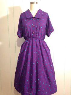 Polka Dot Rockabilly Dress Size 9 by SallyMarieVintage on Etsy