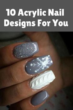 10 Acrylic Nail Designs For You To Impress Everyone Grey Nail Designs, Simple Nail Designs, Acrylic Nail Designs, Gray Nails, Matte Nails, Acrylic Nails, Cute Christmas Nails, Holiday Nails, Top Nail
