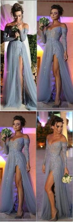 Long Sleeves Prom Dresses,Tulle Evening Dresses,Sexy Prom Dresses