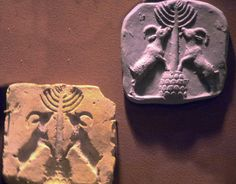 3,000 BCE Sumerian Stamp Seal with Impression Tree of Life with Rampant Goats. Earthenware. Mesopotamia. Chicago. Oriental Institute Museum.  ©Kathleen Cohen