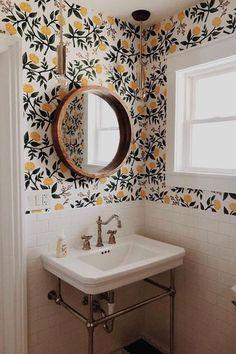 Fjord rod pendant home wallpaper - Diy Decoration Small Bathroom Wallpaper, Trendy Wallpaper, Home Wallpaper, Wallpaper Ideas, Floral Wallpapers, Bathroom Small, Bathroom Ideas, Bathroom Mirrors, Bathroom Cabinets