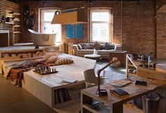 Loft Living Space, Modern Interior Design and Trends in Decorating...raise a section of the space to give it multiple levels....like this idea...is it easy to build yourself? no idea