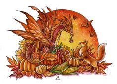 Autumn Harvest Magic Fairy Dragon Fox Fantasy by TrollWorx on Etsy