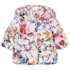 Monnalisa Pink Floral Padded Coat