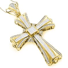 This Luxurious 14K Gold Mens Diamond Cross Pendant weighs approximately 30 grams and showcases 7.75 ctw of invisibly-set princess cut diamonds and pave-set round diamonds.