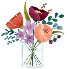 Spring Bouquet - CO473 Watercolor Flowers, Watercolor Art, Bouquet Of Flowers Drawing, Illustration Blume, Spring Bouquet, Motif Floral, Floral Illustrations, Botanical Art, Flower Art