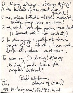 Leaves of Grass, Walt Whitman.