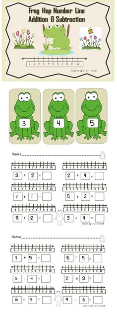 Students will enjoy hopping along the frog number line as they solve addition and subtraction problems. Simply place the frogs on the floor for students to hop to right to solve addition problems or hop to the left to solve subtraction problems. This is a great gross motor activity to do prior to working at the tables to complete the worksheets. Students will use the number lines on the sheets next to each simple addition and subtraction sentence to solve problems. #math #addition…