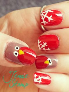 Winter Robin Nail Art | Look What I'm Wearing