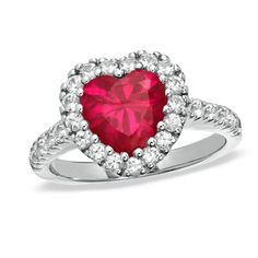 8.0mm Lab-Created Heart-Shaped Ruby and White Sapphire Frame Ring in Sterling Silver - Zales