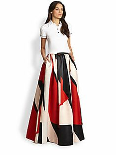 IN LOVE WITH THIS Alice + Olivia - Abella Long Flared Skirt
