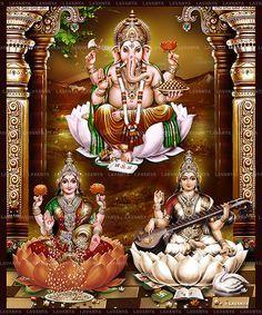 3d laxmi ganesh saraswati wallpaper #670557 Lakshmi Images, Ganesh Images, Osho, Princess Zelda, Wallpaper, Clarity, Painting, Fictional Characters, God