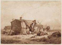 Woonschepen aan de voormalige visschershaven achter het Tolhuis, Amsterdam 1840