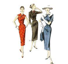 Sheath Dress with Cape Collar Pattern Advance 8234 Sz 12 1950s Fashion, Vintage Fashion, Cape Dress, 50s Vintage, Collar Pattern, Vintage Patterns, Sheath Dress, Collars, Feminine