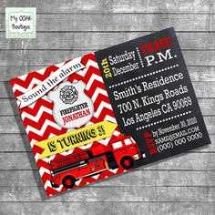Birthday firefighter party invitation kids by myooakboutique etsy store