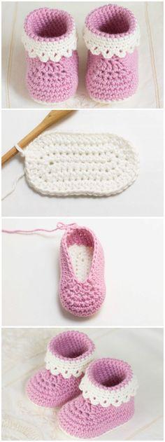 Pink Lady Baby Booties Free Crochet Patterns Enkel Virkning ff48ddf540a39