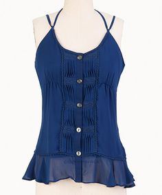 Look what I found on #zulily! Navy Pleated Tank- Women by Tulle #zulilyfinds