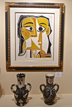 Picasso linocut and vases