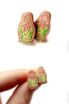 Gingerbread Russian Doll #polymerclay  Matrioshka Earrings Post by ~allim-lip