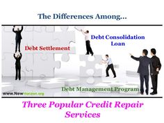 What are the differences among Three Popular Credit Repair Services? #DebtConsolidationLoan #DebtSettlement #DebtManagement #CreditRepairServices