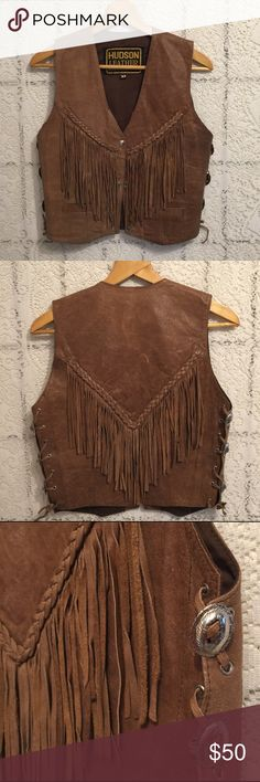 Vintage leather vest with fringe boho tribal Seriously the best thing ever. Braided details along top of fringe. Side lacing with silver accents. 3 snap closures down the front. Shop item 170 Vintage Jackets & Coats