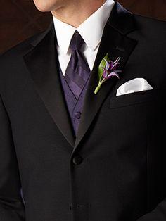 This ensemble exudes such class - Ralph Lauren Notch Lapel Tuxedo, worn with a White Point Collar Shirt, a Bella Luna Lapis Vest and Euro Tie Purple Wedding, Trendy Wedding, Wedding Styles, Wedding Ideas, Wedding Poses, Wedding Pictures, Wedding Details, Wedding Suits, Wedding Attire