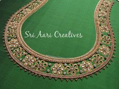 For orders contact- 9842995293 Cutwork Blouse Designs, Simple Blouse Designs, Bridal Blouse Designs, Blouse Neck Designs, Hand Embroidery Designs, Hand Work Blouse Design, Maggam Work Designs, Back Neck Designs, Maggam Works