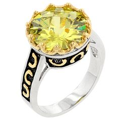 Genuine Rhodium Plated and Gold Plated Antique Ring with a Round Cut Peridot Green Cubic Zirconia in Two-Tone Jewelry Rings, Jewelry Accessories, Jewellery, Antique Rings, Gemstone Colors, 9 And 10, Peridot, Fashion Jewelry, White Gold