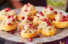 aubergine caviar crostinis with sesame and pomegranate Smoky, delicious & perfect for a Christmas party - this aubergine caviar can be made two days in advance. See more Christmas recipes at Tesco Real Food. Party Canapes, Canapes Recipes, Canapes Ideas, Party Appetizers, Christmas Canapes, Christmas Recipes, Christmas Ideas, Tapas, Snacks