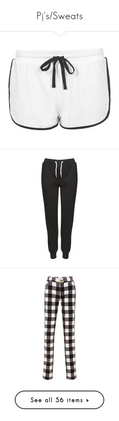 """Pj's/Sweats"" by photoingography ❤ liked on Polyvore featuring shorts, bottoms, pajamas, topshop, white, sporty shorts, topshop shorts, white cotton shorts, white shorts and cotton shorts"