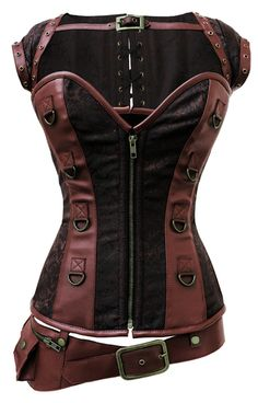 FAUX-LEATHER-AND-COTTON-TWILL-OVERBUST-CORSET-----