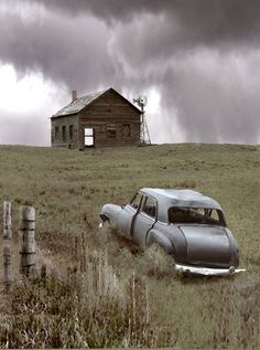 It was a dark and stormy night.Abandoned house and car found near Gordon, Nebraska Abandoned Buildings, Abandoned Mansion For Sale, Old Abandoned Houses, Abandoned Mansions, Old Buildings, Abandoned Places, Abandoned Castles, Abandoned Vehicles, Character Design Challenge