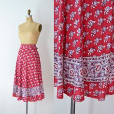 1970s Wrap Skirt / 70s Indian Block Print Cotton by FemaleHysteria