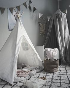 Playroom in grey tones. So subtle and calming! http://petitandsmall.com/fall-love-gorgeous-grey-home/